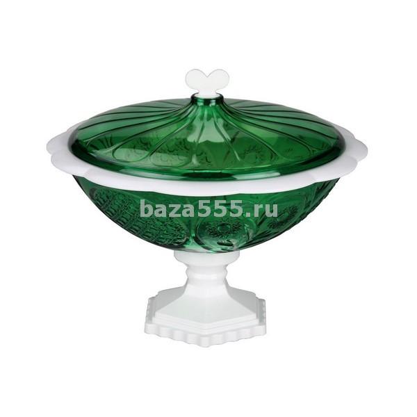 """М5474 ваза """"хрусталь"""" малая с крыш. (прозр.зел.-бел.)(уп.16)"""