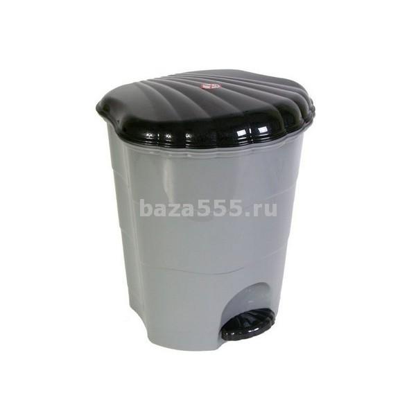 0507/16 Ведро для мусора с педалью 7л(серо/черн)