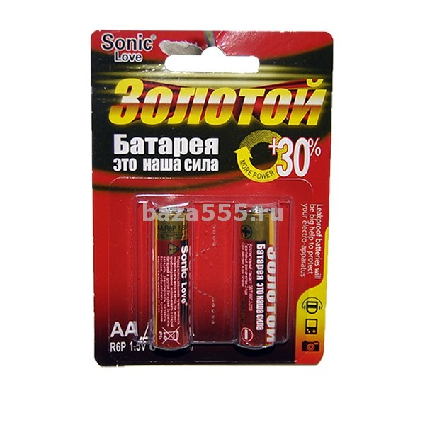 "Батарейка"" sonic"" золотой"" ааr6р пальч.70wy-23-256 уп.30 бл/кор.720.бл"