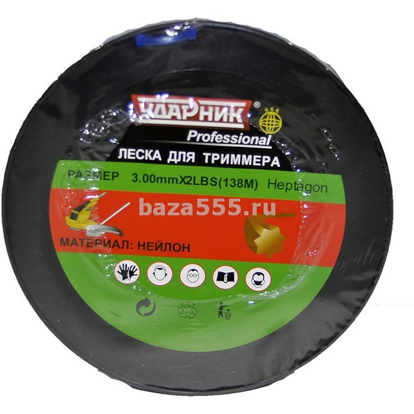 """Леска для триммера heptagon (семиугольн)  green  d 3,00.mm*2lbs 138.m""""ударник""""/12 шт."""