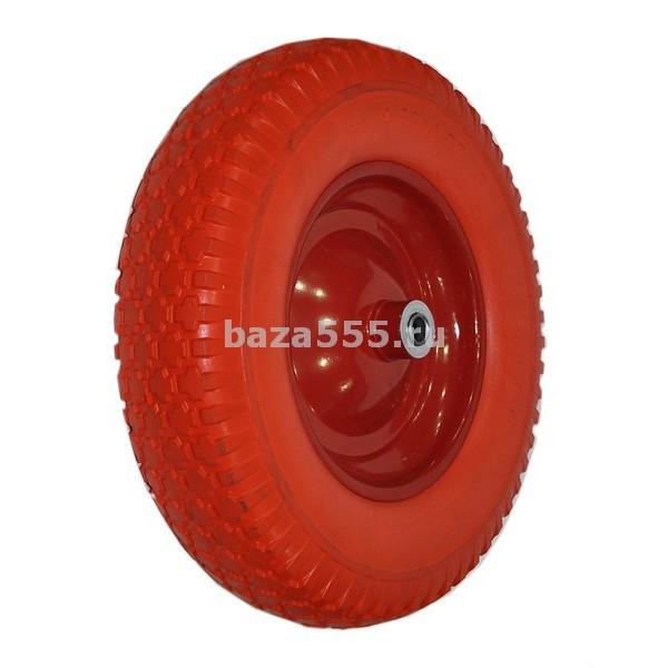 """Колесо 4,00 - 8 """" красное"""" d-16  полиуретановое для садовых и строительных тележек, тачек"""