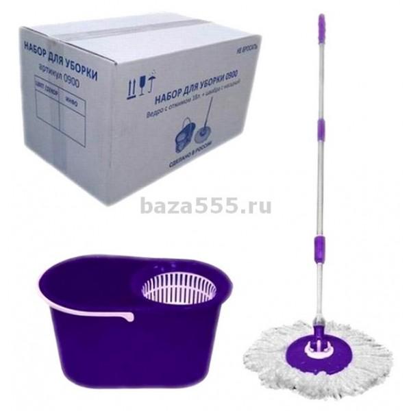 0900/141 Ведро с отжимом 18л б/дек + швабра с насадкой (фиолет)/компл.в бел.кор.