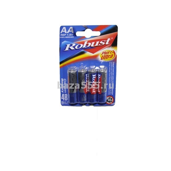 """Батар""""Robust""""АА R6P 1,5V 4B(PLUS ULtra)пальч.син./70WY-20-261/70WY-25-288/70WY-26-320/16 бл.кор.288"""