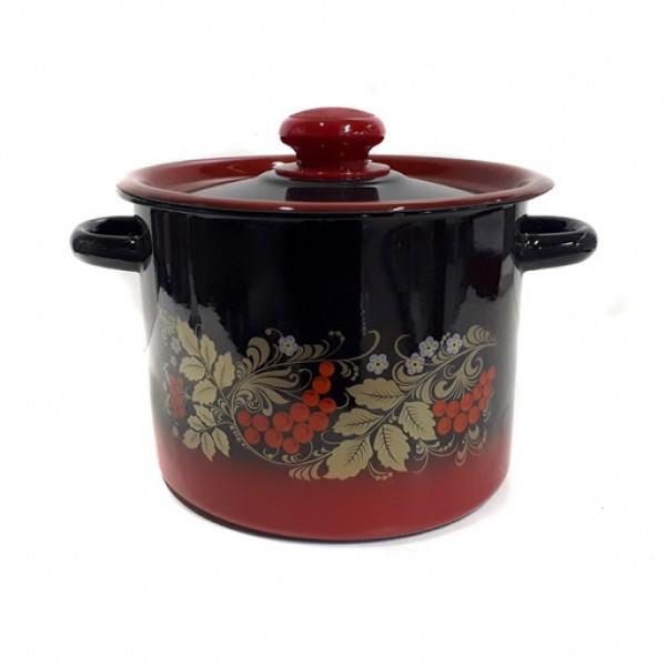 Кастрюля цилиндр. 3,5 л декор красно-черная С1612.38 С_У (4)